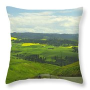 Canola Country Road Throw Pillow