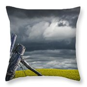 Canola Field In Southern Alberta Throw Pillow