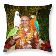 Can't Get Brighter Than This  Artist Navinjoshi In Hawaii Travel Vacations With Trained Parrots By P Throw Pillow