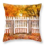 Canterbury Shaker Village Picket Fence  Throw Pillow