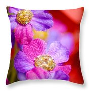 Canvas Flowers Throw Pillow