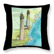 Cape Ann Twin Lighthouses Ma Nautical Chart Map Art Cathy Peek Throw Pillow