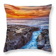 Cape Arago Crevasse Hdr Throw Pillow