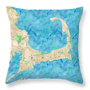 Cape Cod Watercolor Map Throw Pillow