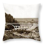 Cape Creek Bridge And Heceta Oregon Head Lighthouse  Circa1933 Throw Pillow