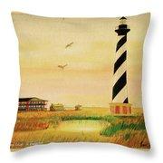 Cape Hatteras Light At Sunset Throw Pillow