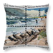 Cape Hatteras National Park Vintage Postage Stamp Print Throw Pillow