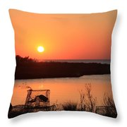 Cape Hatteras Sunset-north Carolina Throw Pillow