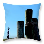 Cape Lookout Dock Throw Pillow