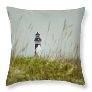 Cape Lookout Lighthouse - Vintage Throw Pillow