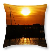 Cape May Harbor At Sunrise Throw Pillow