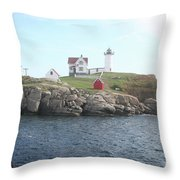 Cape Neddick Light On A Misty Morning Throw Pillow