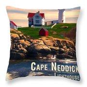 Cape Neddick Lighthouse  At Sunset  Throw Pillow