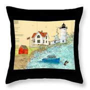 Cape Neddick Lighthouse Me Nautical Chart Map Art Cathy Peek Throw Pillow