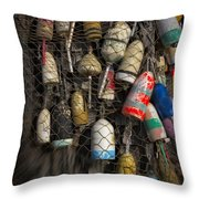 Cape Neddick Lobster Buoys Throw Pillow