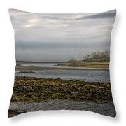 Cape Porpoise Maine - Fog On The Horizon Throw Pillow by Bob Orsillo