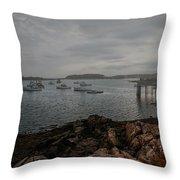 Cape Porpoise Maine - Fog Rolls In Throw Pillow