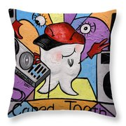 Caped Tooth Throw Pillow by Anthony Falbo