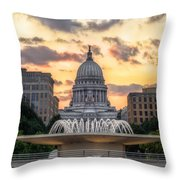 Capitol Building In Madison Wisconsin Throw Pillow