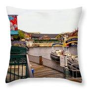 Cap'n Jacks Marina Harbor Walt Disney World Throw Pillow
