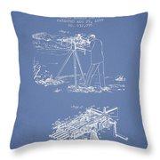 Capps Machine Gun Patent Drawing From 1899 - Light Blue Throw Pillow