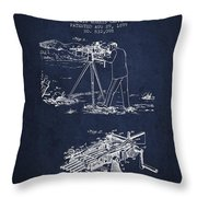 Capps Machine Gun Patent Drawing From 1899 - Navy Blue Throw Pillow