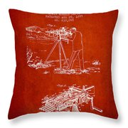 Capps Machine Gun Patent Drawing From 1899 - Red Throw Pillow