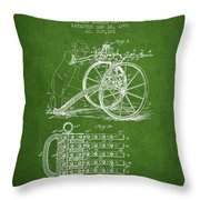 Capps Machine Gun Patent Drawing From 1902 - Green Throw Pillow