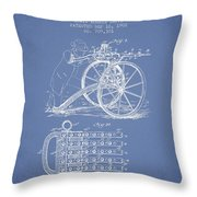 Capps Machine Gun Patent Drawing From 1902 - Light Blue Throw Pillow