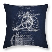 Capps Machine Gun Patent Drawing From 1902 - Navy Blue Throw Pillow