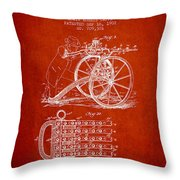 Capps Machine Gun Patent Drawing From 1902 - Red Throw Pillow