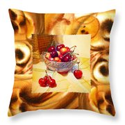 Cappuccino Abstract Collage Cherries Throw Pillow