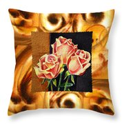Cappuccino Abstract Collage French Roses Throw Pillow