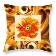Cappuccino Abstract Collage Poppy Throw Pillow