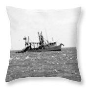 Capt. Jamie - Shrimp Boat - Bw 01 Throw Pillow