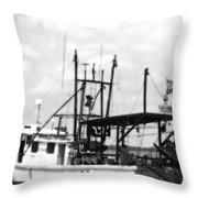 Capt. Jamie - Shrimp Boat - Bw 02 Throw Pillow
