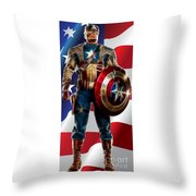 Captain America In Front Of Old Glory Throw Pillow