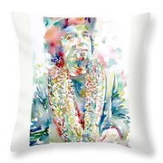 Captain Beefheart Watercolor Portrait.2 Throw Pillow by Fabrizio Cassetta