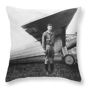 Captain Charles Lindbergh Throw Pillow