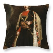 Captain Colin Mackenzie In His Afghan Throw Pillow by James Sant