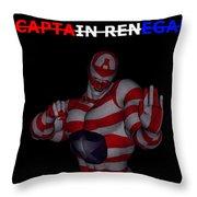 Captain Renegade Super Hero Combating Crime Throw Pillow