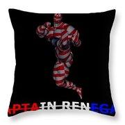 Captain Renegade Super Hero Jumping Karate Kick Throw Pillow