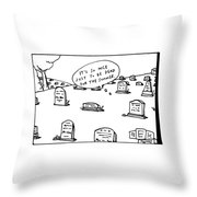Captionless. In The Middle Of A Cemetery Throw Pillow