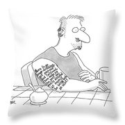 Captionless: Long Tattoo On Arm Of Man Drinking Throw Pillow