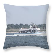 Captree's Captain Gregory Heading Out To Sea Throw Pillow