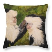 Capuchin Monkeys Charlotte And Samantha Half Proceeds Go To Jungle Friends Primate Sanctuary Throw Pillow