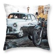 Car And Sidecar Throw Pillow