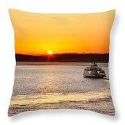 Car Ferry Leaving Steilacoom Throw Pillow