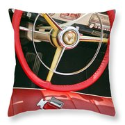 Car Interior Red Seats And Steering Wheel Throw Pillow