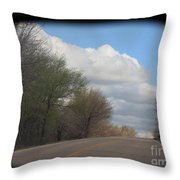 Car Mirror Landscape With Road And Sky. Throw Pillow